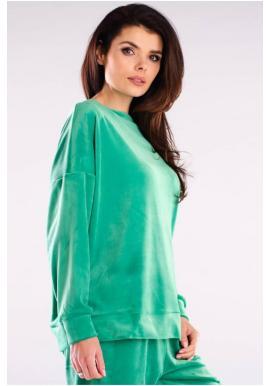 Zelená velúrová oversize mikina pre dámy