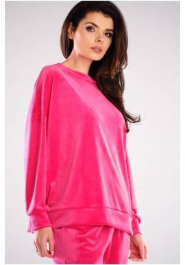 Dámske velúrové oversize mikiny v ružovej farbe