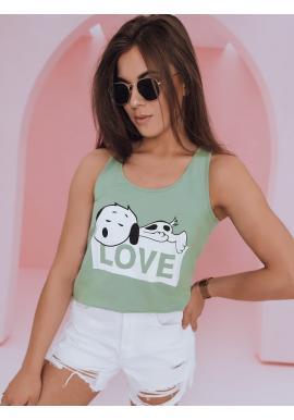 Dámske módne tričko s motívom Snoopyho v zelenej farbe