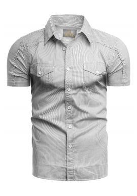 Biela pásikavá košeľa s vreckami na hrudi pre pánov