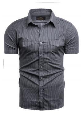 Pásikavá pánska košeľa tmavosivej farby s vreckami na hrudi