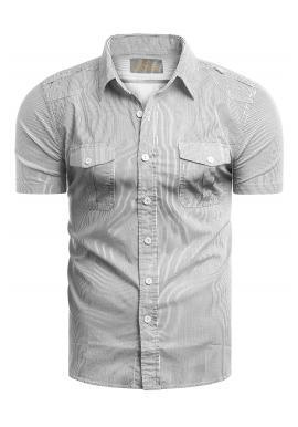 Pánska pásikavá košeľa s vreckami na hrudi v bielej farbe