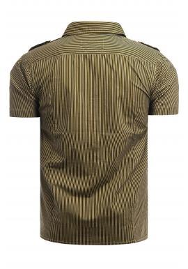 Pásikavá pánska košeľa hnedej farby s vreckami na hrudi