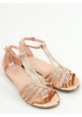 Dámske metalické sandále v ružovo-zlatej farbe