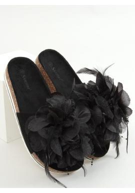 Čierne korkové šľapky s kvetinovou aplikáciou pre dámy