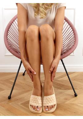 Béžové prešívané šľapky so zúbkovanou podrážkou pre dámy