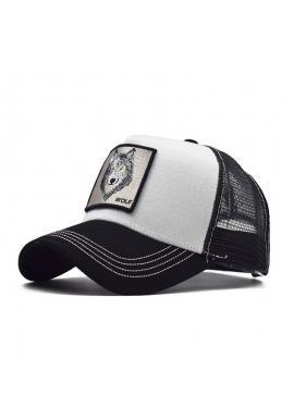 Baseballová štýlová šiltovka čierno-bielej farby so sieťkou a s nášivkou