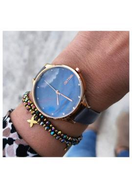 Sivé hodinky s koženým remienkom pre dámy