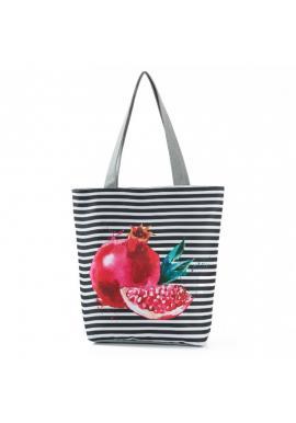 Plážová pásikavá taška s farebnou potlačou
