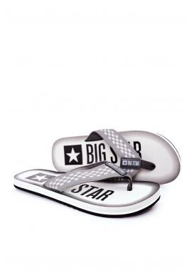 Sivé módne žabky Big Star pre pánov