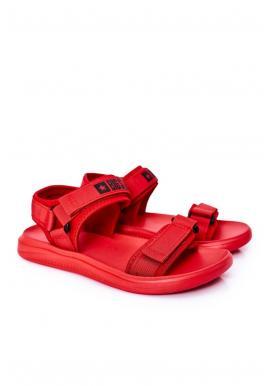 Športové pánske sandále Big Star červenej farby so suchým zipsom