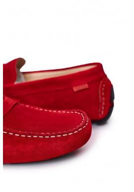 Pánske semišové mokasíny značky GOE v červenej farbe