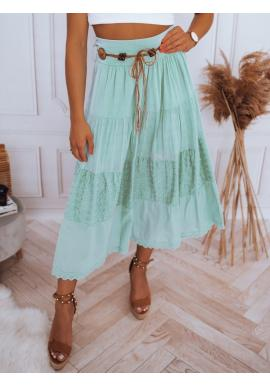 Dámska maxi sukňa s čipkovaným detailom v mätovej farbe