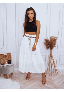 Maxi dámska sukňa bielej farby s čipkovaným detailom
