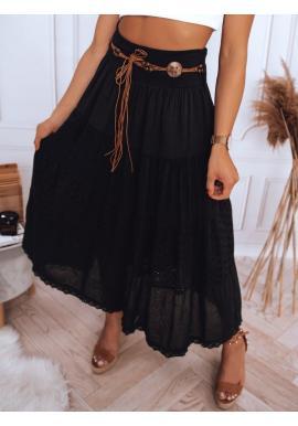 Čierna maxi sukňa s čipkovaným detailom pre dámy