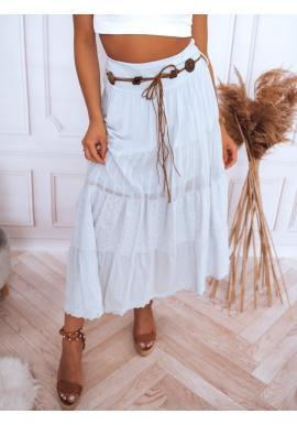 Maxi dámske sukne svetlosivej farby s čipkovaným detailom