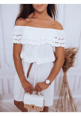 Letné dámske šaty bielej farby s odhalenými ramenami