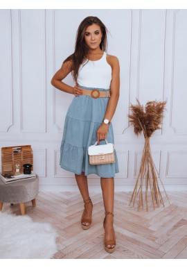 Midi dámska sukňa svetlomodrej farby s pleteným opaskom