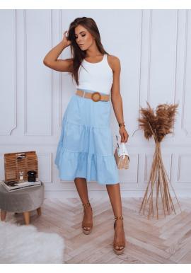 Svetlomodrá midi sukňa s pleteným opaskom pre dámy