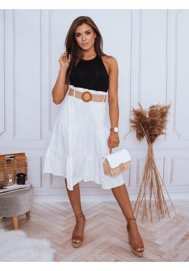 Dámska midi sukňa s pleteným opaskom v bielej farbe