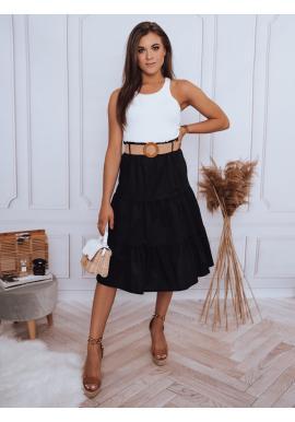Midi dámska sukňa čiernej farby s pleteným opaskom