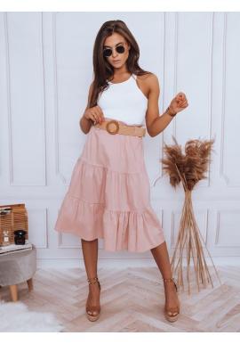 Dámske midi sukne s pleteným opaskom v ružovej farbe