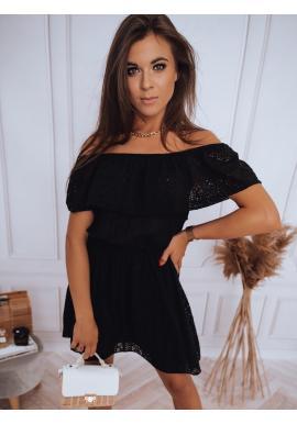 Boho dámske šaty čiernej farby s odhalenými ramenami