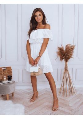 Dámske boho šaty s odhalenými ramenami v bielej farbe