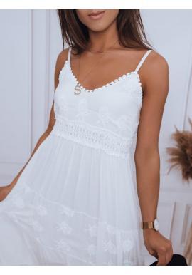 Biele letné šaty na ramienka pre dámy