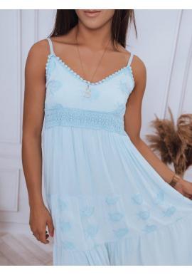 Letné dámske šaty svetlomodrej farby na ramienka