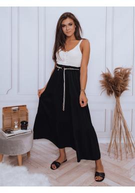 Maxi dámska sukňa čiernej farby s gumičkou v páse
