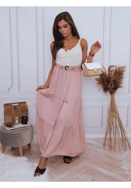 Ružová maxi sukňa s gumičkou v páse pre dámy