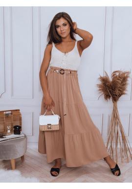 Dámska maxi sukňa s gumičkou v páse v hnedej farbe
