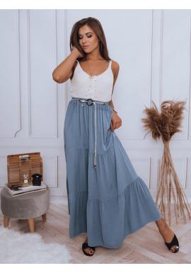 Maxi dámska sukňa svetlomodrej farby s gumičkou v páse
