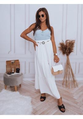 Biela maxi sukňa s gumičkou v páse pre dámy