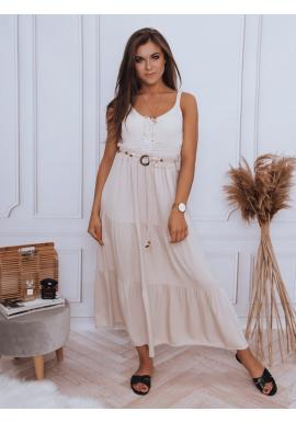 Maxi dámska sukňa béžovej farby s gumičkou v páse