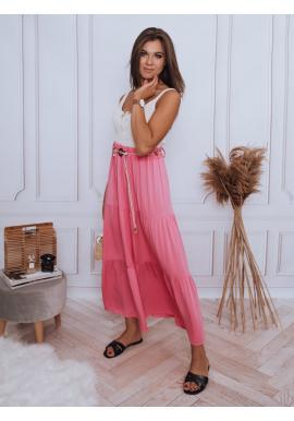 Fuchsiová maxi sukňa s gumičkou v páse pre dámy