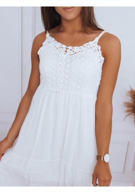 Ažúrové dámske šaty bielej farby na ramienka