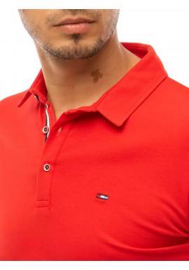 Klasická pánska polokošeľa červenej farby s tromi gombíkmi