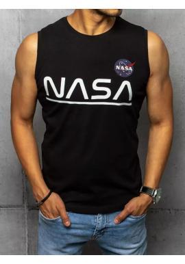 Čierne módne tričko s potlačou NASA pre pánov
