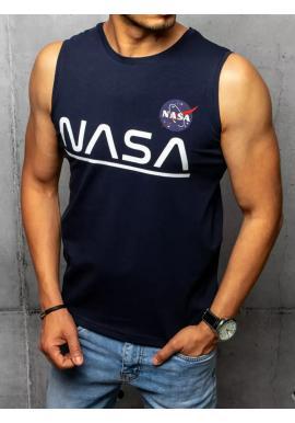 Módne pánske tričko tmavomodrej farby s potlačou NASA