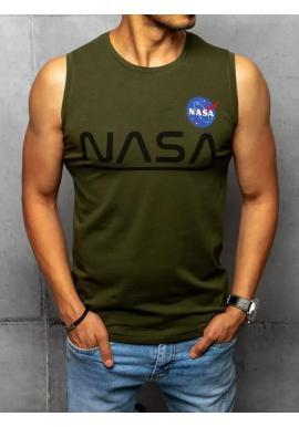 Khaki módne tričko s potlačou NASA pre pánov