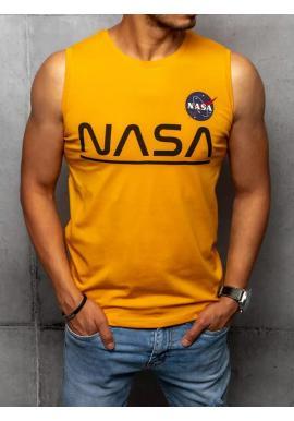Módne pánske tričko horčicovej farby s potlačou NASA