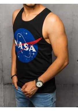 Pánske letné tričko s potlačou NASA v čiernej farbe