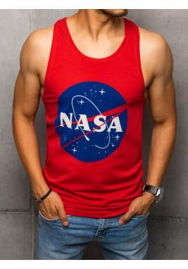 Letné pánske tričko červenej farby s potlačou NASA