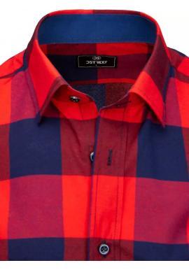 Pánska kockovaná košeľa s krátkym rukávom v modro-červenej farbe