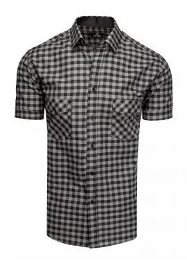 Kockovaná pánska košeľa čierno-sivej farby s krátkym rukávom