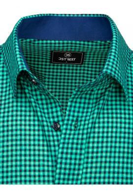 Modro-zelená kockovaná košeľa s krátkym rukávom pre pánov