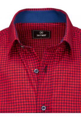 Kockovaná pánska košeľa bordovo-modrej farby s krátkym rukávom