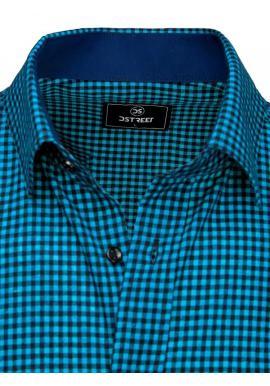 Pánske kockované košele s krátkym rukávom v modro-čiernej farbe
